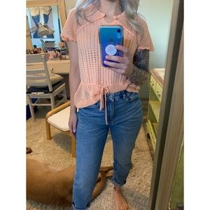 Small, Vintage peach knit top with tie waist